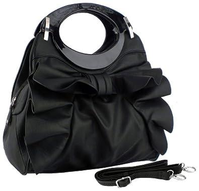 MG Collection DACIA Black Large Bowknot Ruffle Satchel Hobo Handbag