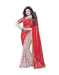 VinayTM Elegant Traditional Designer Georgette Printed & Lace Work Red Saree With Blouse Material