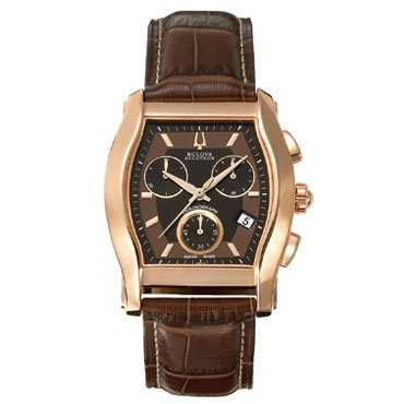 Accutron by Bulova Stratford Chronograph Rose Gold tone Steel Mens Swiss Strap Watch Model# 64B112