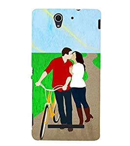 Kissing Love Couple 3D Hard Polycarbonate Designer Back Case Cover for Sony Xperia C3 Dual :: Sony Xperia C3 Dual D2502