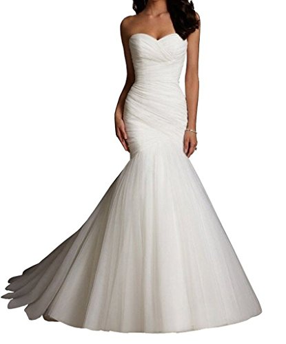 CEZOM White Tulle Mermaid Wedding Dresses Bridal Dress Wedding Gowns