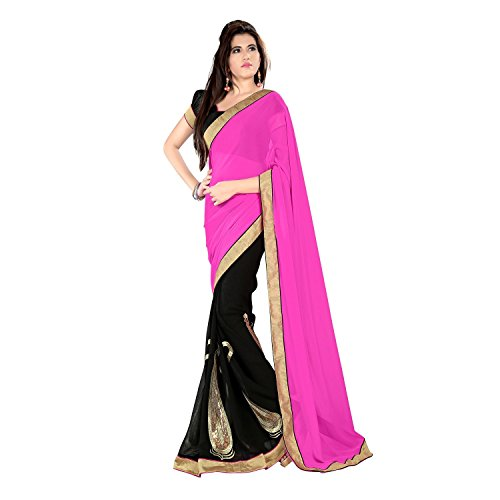 Janasya Women's georgette Saree (JNE0131_Colour-Pink)