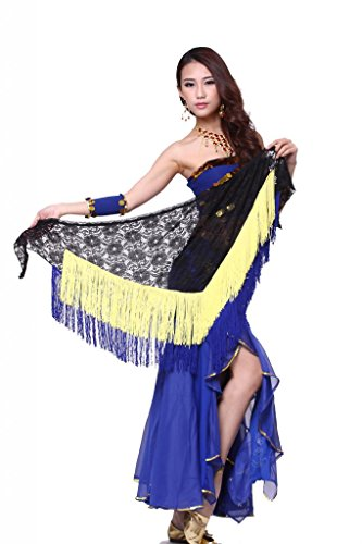 Feimei Women's Belly Dance Lace Two-colors Triangle Tassels Hip Scarf