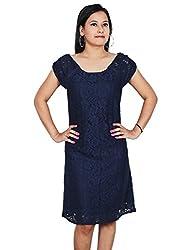 Polita Women A-line Dark blue dress/ Party Wear Dress/ Gorgeous Party Wear Dress/ Self Design party Wear Dress For Women,Ladies Girls