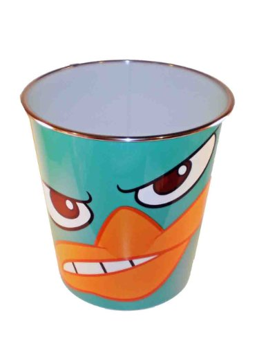 Disney Phineas & Ferb Perry the Platypus/ Agent P Plastic Trash Can - 1