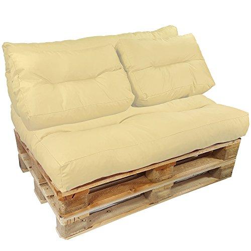 proheim palettenkissen lounge 4 teiliges set 1 sitzkissen 3 r ckenkissen in creme sitzpolster. Black Bedroom Furniture Sets. Home Design Ideas