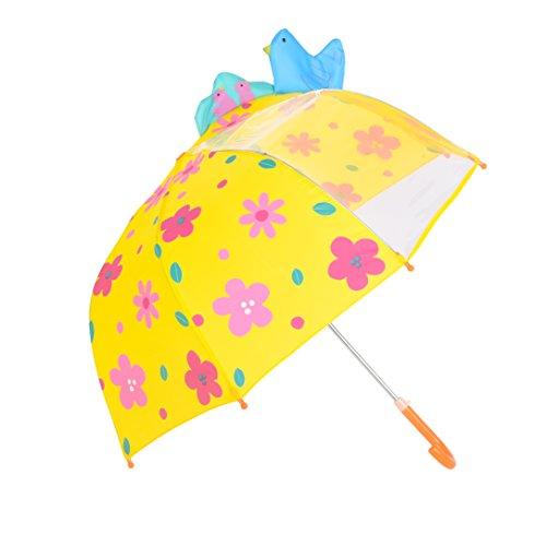 Ombrello per Bambini, Rainbrace Ombrello da Pioggia per Bambino e Bambina, con Spicchio di Cupola Trasparente, Fiori e Uccelli,Giallo