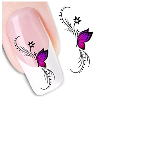 XILALU Fashion Woman 3D Design Butterfly Decals Nail Art Stickers Tips To Decoration (Purple)