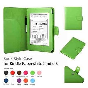 Leder Schutzhülle Hülle Tasche Lederhülle Leather Case Cover Premium Leder Case für den neuen Amazon Kindle Paperwhite und Kindle Paperwhite 3G, Mit Sleep / Wake Smart Cover Funktion Grün