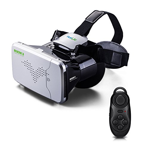 Hueliv Riem III VR Glasses, Google Cardboard Virtual Reality Headset for 3.5-6'' Smartphones for 3D Movies and Games, Silver with Remote Controller (VR Glasses Kit)