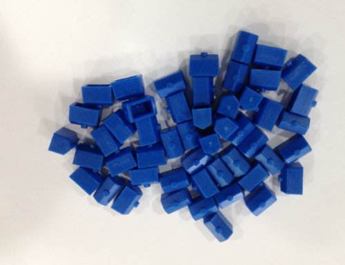 Plastic Houses: Blue Color Monopoly Replacement House (Colored Miniature Town & City Buildings, Board Game Playing Pieces) - 1
