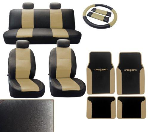 Deluxe Leatherette Full Set 15Pc Car Seat Covers - Floor Mats - Black/Tan Accent Vinyl Trim - Front Rear Steering Wheel Set Plus 4Pc Mats