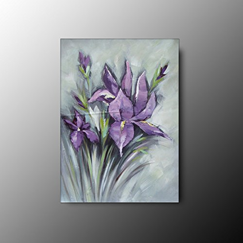 100% Hand-Painted Bestanvas 4Pcs/Set Mi-Selling Quality Goods Free Shipping Wood Framed On The Back New Knife Painted Purple Flower High Q. Wall Decor Landscape Oil Painting On Canvas