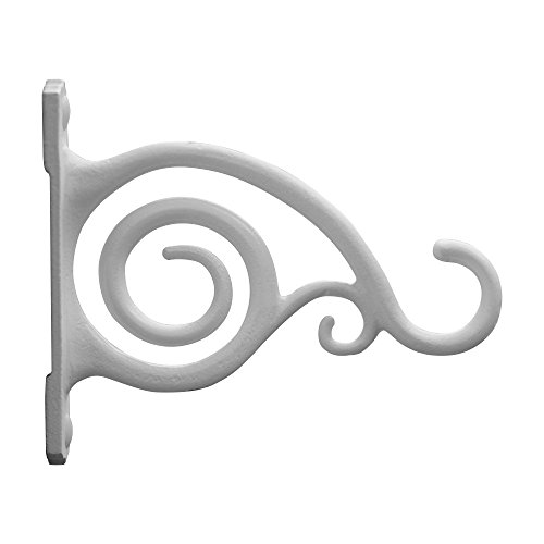 GrayBunny GB-6837 Fancy Curved Hook, Set of 2, White, Cast Iron Wall Hooks For Bird Feeders, Planters, Lanterns, Wind Chimes, As Wall Brackets and More! (White Cast Iron Pot compare prices)