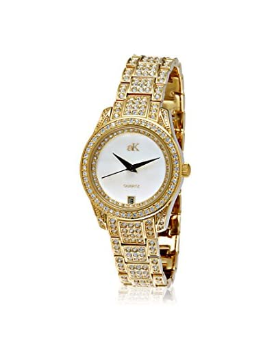 Adee Kaye Women's 9-12LG/CR Royalty Collection Mother-of-Pearl Crystal & Brass Watch