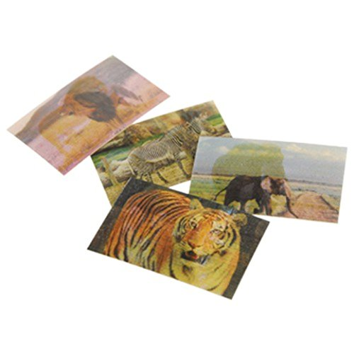 Lot Of 72 Assorted Wild Animal Theme Hologram Changing Stickers