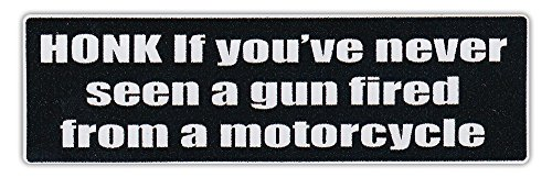 Motorcycle Helmet Stickers: Honk If You've Never Seen Gun Fired From Motorcycle