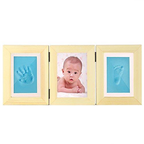 Fuloon Baby Fotorahmen Hand- Fußabdruck Rahmen für Baby 1-14 Monat Feierlichkeiten Weihnachten Taufen Geburtstage Abdruck Bildrahmen (3-Teilige, beige-Rahmen)