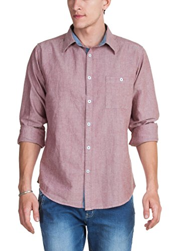 Zovi Men Cotton Regular Fit Red Solid Casual Shirt  Full Sleeves