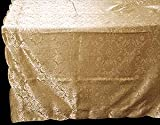 Table Cloth in an Antique Gold Damask Design. Ideal for your dining table at Christmas, Hogmanay, Mother's Day, Easter and also for dressing tables at weddings, anniversaries, engagement parties, hand fastings, civil partnership ceremonies, birthdays and other events and special celebrations.