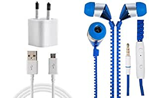 JIYANSHI Huawei Ascend G610 Compatible Combo of 2A Wall Charger/Portable Charger & Zip Style Earphone Blue