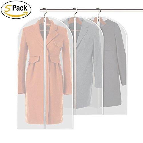 Suit Cover Dress Borse PEVA Eco-Friendly trasparente per l'abbigliamento Abbigliamento copertura 60 * 128cm Organizzatore Dress antipolvere lungo cerniera Borse Protector (Grande, pacchetto di 5)