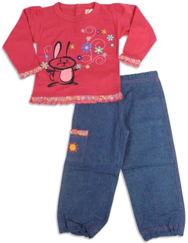 Artisans - Little Girls Long Sleeve Pant Set, Fucshia, Blue 26473-2T