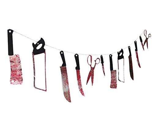DATO Ghirlanda Decorativa di Halloween Festa Arma Sanguinante Festone Plastica con Strumenti di Tortura Orrore Props Puntelli per Bar Haunted House Decorazione
