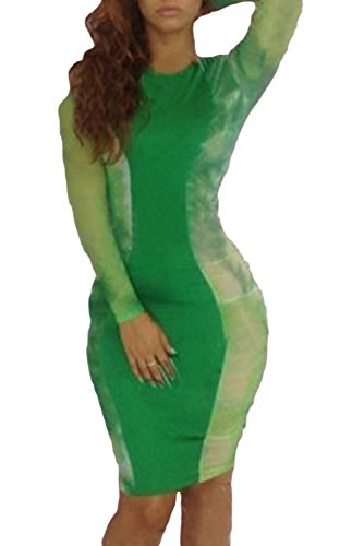 Priceabate Women'S Green Bodycon Midi Dress With Tie Dye Sides Small As Shown
