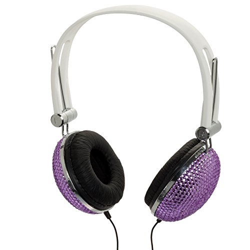 Crystal Rhinestone Dj Headphones Headset Earphones (Dark Purple)