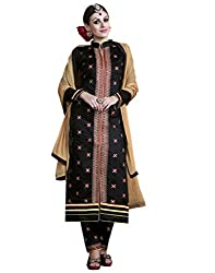 Ethnic Fashion Trendy Black and Beige Coloured Embroidered Unstitched Cambric Cotton Salwar Suit With Dupatta