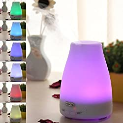7 Colors Aromatherapy Essential oil Diffuser - 100ml Adjustable Mode Ultrasonic Cool Mist Aroma Humidifier with Waterless Auto Shut off and Color Changing LED lights for Home Office Bedroom Baby Room