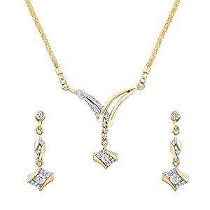Oviya Combo of Lustrous gold and rhodium plated two necklace sets for Women CO1104390M