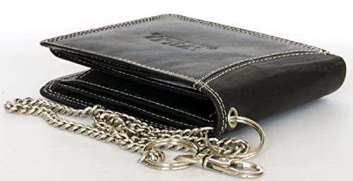 10. Men's Black Biker's Genuine Leather Wallet Wild with Metal Chain to Hang