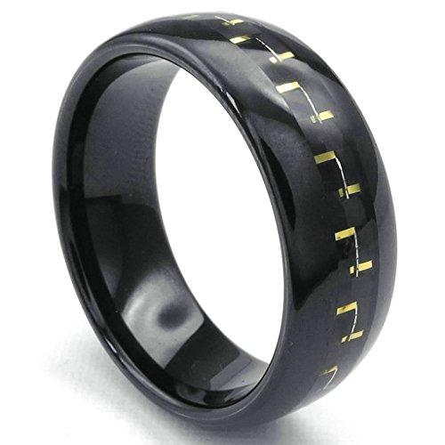 Daesar Stainless Steel Rings Mens Wedding Bands for Men Rings Gold Carbon Fiber Black Rings 8MM Size:9