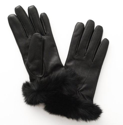 Glove.Ly Women'S Leather Touch Screen Glove Rabbit Fur, Extra Small, Black