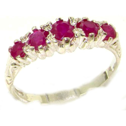 Antique Style Solid Sterling Silver Natural Ruby Ring with English Hallmarks - Size 12 - Finger Sizes 5 to 12 Available - Suitable as an Anniversary ring, Engagement ring, Eternity ring, or Promise ring