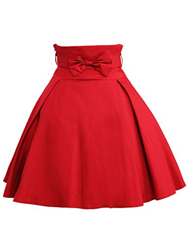 Hugme-Simple-Dark-Red-Bow-Cotton-Lolita-Skirt