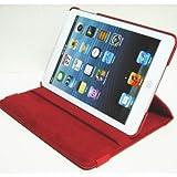 iPad mini ケース/アイパッド ミニ/スタンドC型/合皮製/牛皮模様/モニター回転式/レッド/赤色
