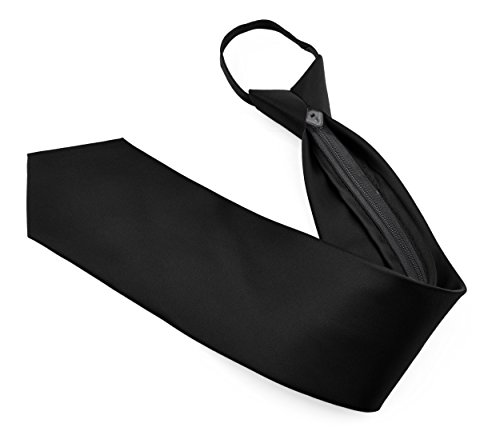 Moda Di Raza - Men's / Boy's Zipper Tie Neckwear Polyester -Black/20 IN Mens Zipper Tie