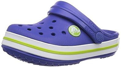 crocs Crocband Kids, Unisex-Kinder Clogs, Blau (Cerulean Blue/Volt Green 4Q8), 19-21 EU