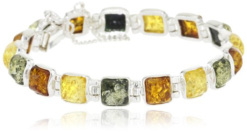 Sterling Silver Multi-Color Amber Bracelet