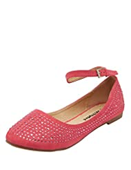 Liliana Ladies Synthetic Red Flats
