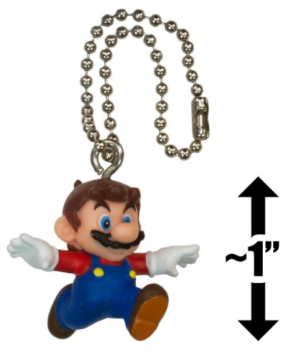 "Capless Mario ~1"" Mini Figure Charm: Super Mario 3D Land Dangler Series"