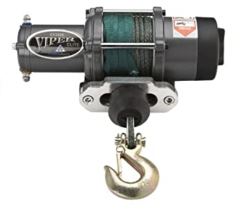 Viper Elite 3500lb ATV Winch & Custom Mount for Yamaha Rhino 450 660 700 with GREEN AmSteel®-Blue synthetic rope