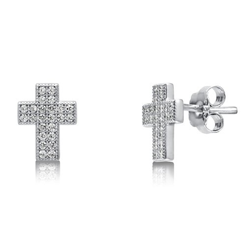 Micro Pave Cubic Zirconia CZ 925 Sterling Silver Cross Stud Earrings - Nickel Free, Holiday Christmas Gift