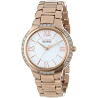 Citizen Ciena EM0093-59A Diamond Accent Eco-Drive Rose Gold Tone Stainless Steel Women's Watch