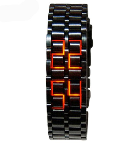 Fanmis Men'S Black Stainless Steel Lava Red Led Digital Bracelet Date Watch