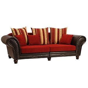 best selling big sofa xxl xxl sofa 3 sitzer carmen kolonialstil chenille rot streifen beige. Black Bedroom Furniture Sets. Home Design Ideas