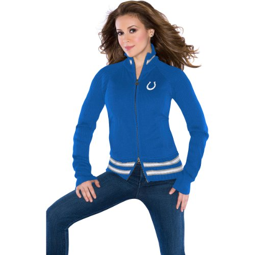 NFL Touch by Alyssa Milano Indianapolis Colts Ladies Mix Full Zip Jacket - Royal Blue (XX-Large) at Amazon.com